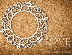 Laserowe Love Chipboard - Round Lace Frame - Coral/Navy Romance