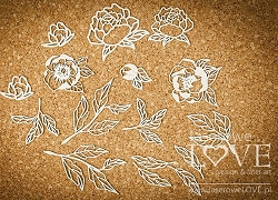 Laserowe Love Chipboard - Big leaves and flowers of peony - Coral/Navy Romance