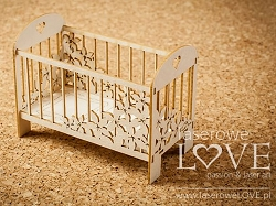 Laserowe Love Chipboard - Large 3D flower crib - Vintage Baby