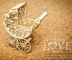 Laserowe Love Chipboard - 3D Baby Troley - Vintage Baby