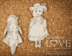 Laserowe Love Chipboard - Layered Dolls - Vintage Baby