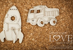 Laserowe Love Chipboard - Layered Truck & Rocket - Vintage Baby