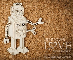 Laserowe Love Chipboard - Layered Robot - Vintage Baby