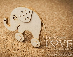 Laserowe Love Chipboard - 3D Pull Toy Elephant - Vintage Baby