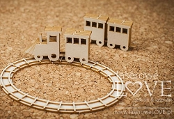 Laserowe Love Chipboard - 3D Train - Vintage Baby