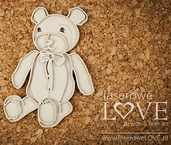 Laserowe Love Chipboard - Layered Teddy Bear - Vintage Baby