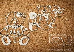 Laserowe Love Chipboard - Teddy Bears - Vintage Baby