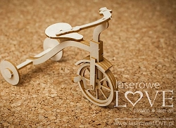 Laserowe Love Chipboard - 3D Tricycle - Vintage Baby