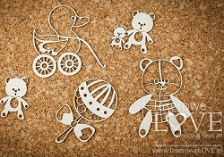 Laserowe Love Chipboard - Toys for Girl - Vintage Baby