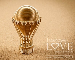 Laserowe Love Chipboard - Large 3D Hot Air Balloon - Vintage Gentleman