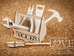 Laserowe Love Chipboard - 3D Tool Box with Tools - Vintage Gentleman