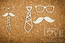 Laserowe Love Chipboard - Tie, Mustache, Glasses - Vintage Gentleman