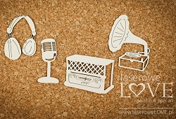 Laserowe Love Chipboard - Gramophone, Radio, Headphones - Vintage Gentleman