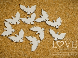 Laserowe Love Chipboard - Doves - Holy & White