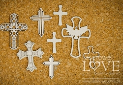 Laserowe Love Chipboard - Crosses - Holy & White