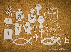 Laserowe Love Chipboard - First Communion Symbols - Holy & White