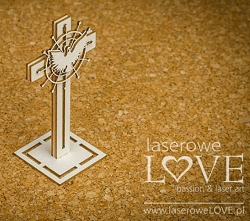 Laserowe Love Chipboard - 3D Cross with Dove - Holy & White