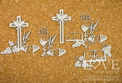 Laserowe Love Chipboard - Communion Composition with  Wheat - Holy & White