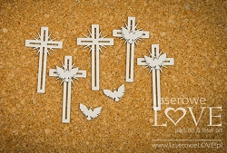 Laserowe Love Chipboard - Crosses with Doves - Holy & White