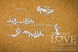 Laserowe Love Chipboard - Small Rectangle Frames w/ Flourish - Holy & White
