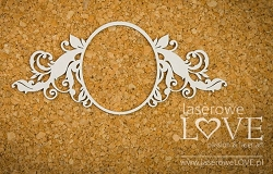 Laserowe Love Chipboard - Large Oval Frame w/ Flourish - Holy & White