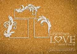 Laserowe Love Chipboard - Rectangle Frames w/ Flourish - Holy & White