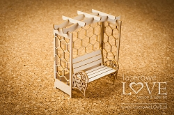 Laserowe Love Chipboard - Bench with a bower 3D - Flower