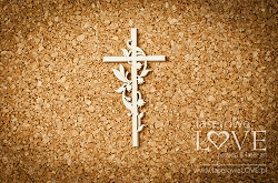 Laserowe Love Chipboard - Cross - Baby lily