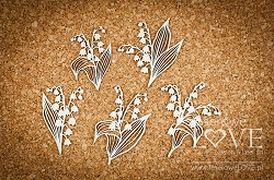 Laserowe Love Chipboard - Bouquets with lilies of the valley - First Love