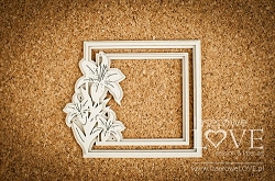 Laserowe Love Chipboard - Frame with lily - White and Innocent