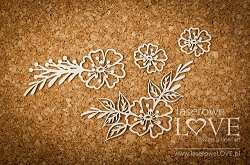 Laserowe Love Chipboard - Flowers with leafs - Indiana