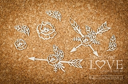 Laserowe Love Chipboard - Arrows with flowers - Indiana