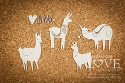 Laserowe Love Chipboard - Llamas Love Llama