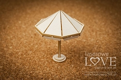 Laserowe Love Chipboard - Umbrella 3D - Vintage Tropical Island