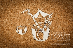 Laserowe Love Chipboard - Coconut drink - Vintage Tropical Island
