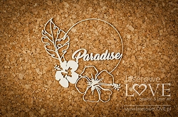 Laserowe Love Chipboard - Paradise text inside a frame - Vintage Tropical Island