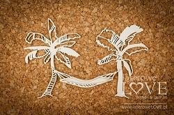 Laserowe Love Chipboard - Palm trees with hammock - Vintage Tropical Island