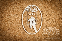 Laserowe Love Chipboard - He and she on a swing - Wedding Day