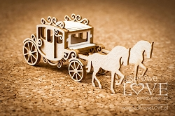 Laserowe Love Chipboard - Carriage with horses 3D - Wedding Day