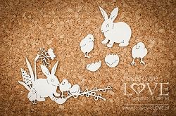 Laserowe Love Chipboard - Rabbit and chickens - Yellow Spring