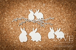 Laserowe Love Chipboard - Rabbits in love - Yellow Spring