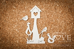 Laserowe Love Chipboard - Birdhouse with birds - Yellow Spring