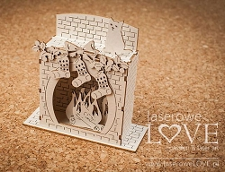 Laserowe Love Chipboard - 3D Chimney (Fireplace) - Vintage Christmas