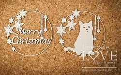 Laserowe Love Chipboard - Christmas frames with cat - Vintage Christmas