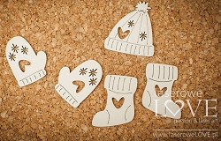 Laserowe Love Chipboard - Gloves - Vintage Christmas
