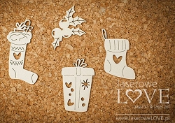 Laserowe Love Chipboard - Christmas set with sock - Vintage Christmas