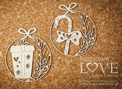Laserowe Love Chipboard - Mini baubles with gift - Vintage Christmas