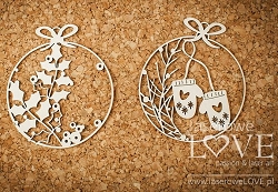 Laserowe Love Chipboard - Mini baubles with gloves - Vintage Christmas