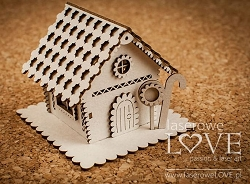 Laserowe Love Chipboard - Small 3D Gingerbread House - Vintage Christmas