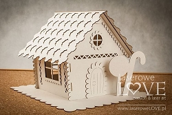 Laserowe Love Chipboard - Large 3D Gingerbread House - Vintage Christmas